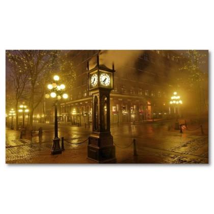 Αφίσα (ατμός, αστικά τοπία, φώτα, ομίχλη, ρολόγια, Βανκούβερ, πόλη, δρόμοι)